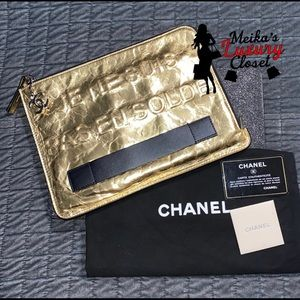Chanel Lk new Gold Discontinued Clutch votez coco